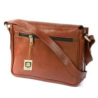 Hamosons – Small women's handbag size XS / shoulder bag in a retro look made out of oiled leather, chestnut brown, model 575