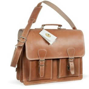 Hamosons – Classic briefcase / teacher bag size L made out of leather, natural brown two-tone, model 600