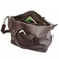 Jahn-Tasche – Medium sized travel bag / weekend bag size M made out of nappa leather, brown, model 698