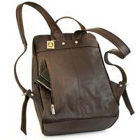 Jahn-Tasche – Mittel-Großer Lederrucksack Größe M / Laptop-Rucksack bis 14 Zoll, Braun, Modell 710