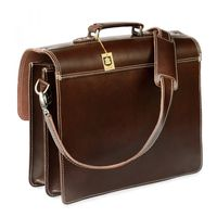 Hamosons – Classic briefcase / teacher bag size L made out of leather, brown, model 600