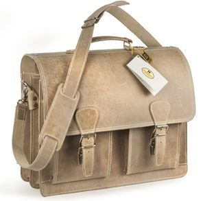 Hamosons – Classic briefcase / teacher bag size L made out of buffalo leather, cream beige, model 600