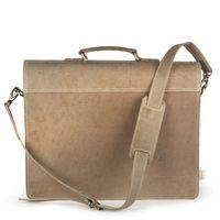 Hamosons – Klassische Aktentasche / Lehrertasche Größe L aus Büffel-Leder, Creme-Beige, Modell 600