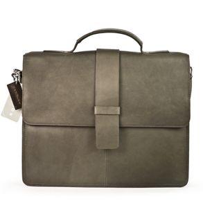 Harolds – Schmale Aktentasche / Aktenmappe Größe S aus Leder, Taupe-Grau, Modell 293835