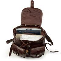 Hamosons – Großer Lederrucksack Größe L / Laptop-Rucksack bis 15,6 Zoll, aus geöltem Leder, Kastanien-Braun, Modell 560