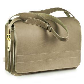 Jahn-Tasche – Sehr Große Aktentasche / Lehrertasche Größe XXL aus Büffel-Leder, Hell-Grau, Modell 677