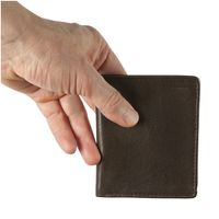Hamosons – Small wallet / billfold size S for men, made out of leather, upright format, brown, model 105