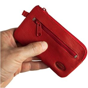 Branco – Large key case / key holder made out of leather, red, model 018