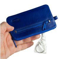 Branco – Großes Schlüsseletui / Schlüsselmäppchen aus Leder, Azur-Blau, Modell 018