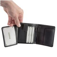 Branco – Small wallet / billfold size S for men made out of leather, upright format, black, model 12057