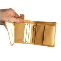 Branco – Kleine Geldbörse / Portemonnaie Größe S für Herren aus Leder, Hochformat, Natur-Beige, Modell 12057