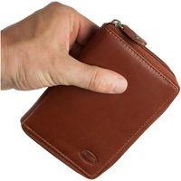 Branco – Große Geldbörse / Portemonnaie Größe L für Damen aus Leder, Braun, Modell 230