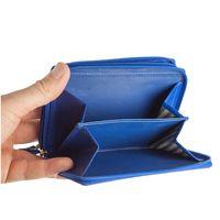 Branco – Große Geldbörse / Portemonnaie Größe L für Damen aus Leder, Azur-Blau, Modell 230