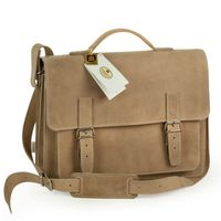 Hamosons – Medium sized briefcase / teacher bag size M made out of buffalo leather, cream beige, model 605