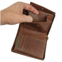 Branco – Large wallet / billfold size L for men made out of leather, upright format, brown, model 35009