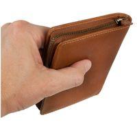 Branco – Große Geldbörse / Portemonnaie Größe L für Herren aus Leder, Hochformat, Cognac-Braun, Modell 35009