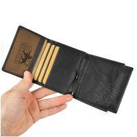 Branco – Kleine Geldklammer Geldbörse / Dollarclip Portemonnaie Größe S für Herren aus Leder, Schwarz, Modell 16795
