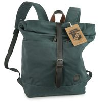 Enter – Großer Canvas Rucksack Größe L / Rolltop Backpack im coolen Retro-Style, dunkles Blau-Grün, Modell 1407