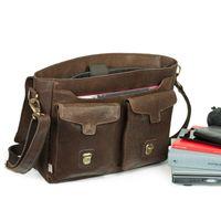 Jahn-Tasche – Lässige Vintage Umhängetasche / Messenger Bag Größe M aus Leder, Braun, Modell 439