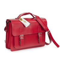 Hamosons – Medium sized briefcase / teacher bag size M made out of leather, light cherry red, model 605