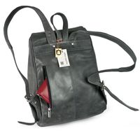 Jahn-Tasche – Medium sized leather backpack size M / laptop backpack up to 14 inches, anthracite grey, model 710