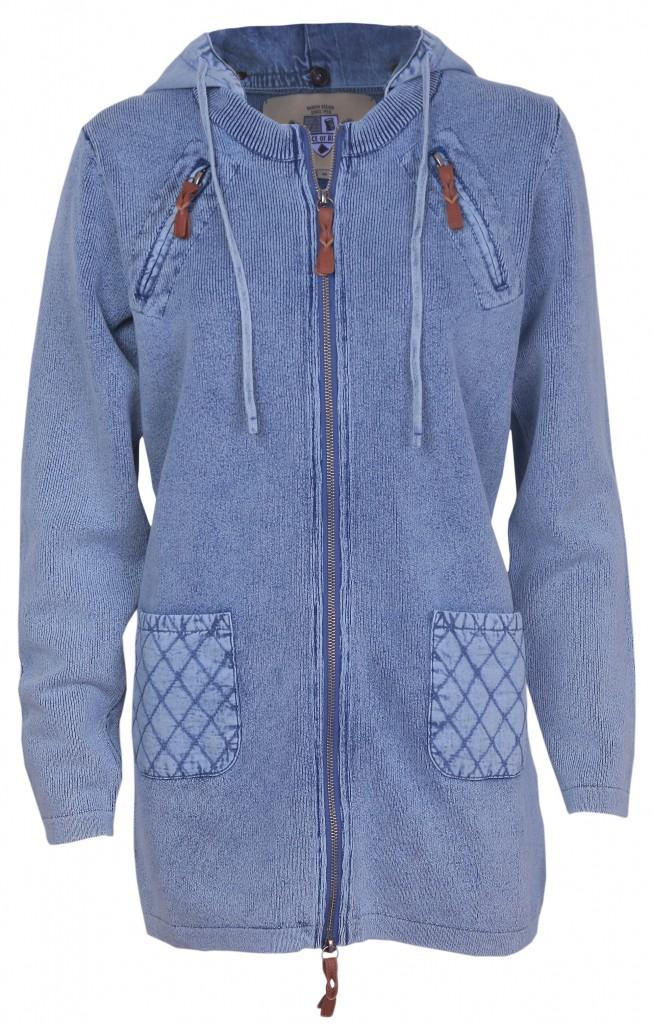 PIECE OF BLUE Damen Longjacke iceblau