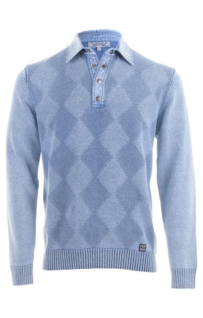 PIECE OF BLUE Herren Polo Pullover Raute