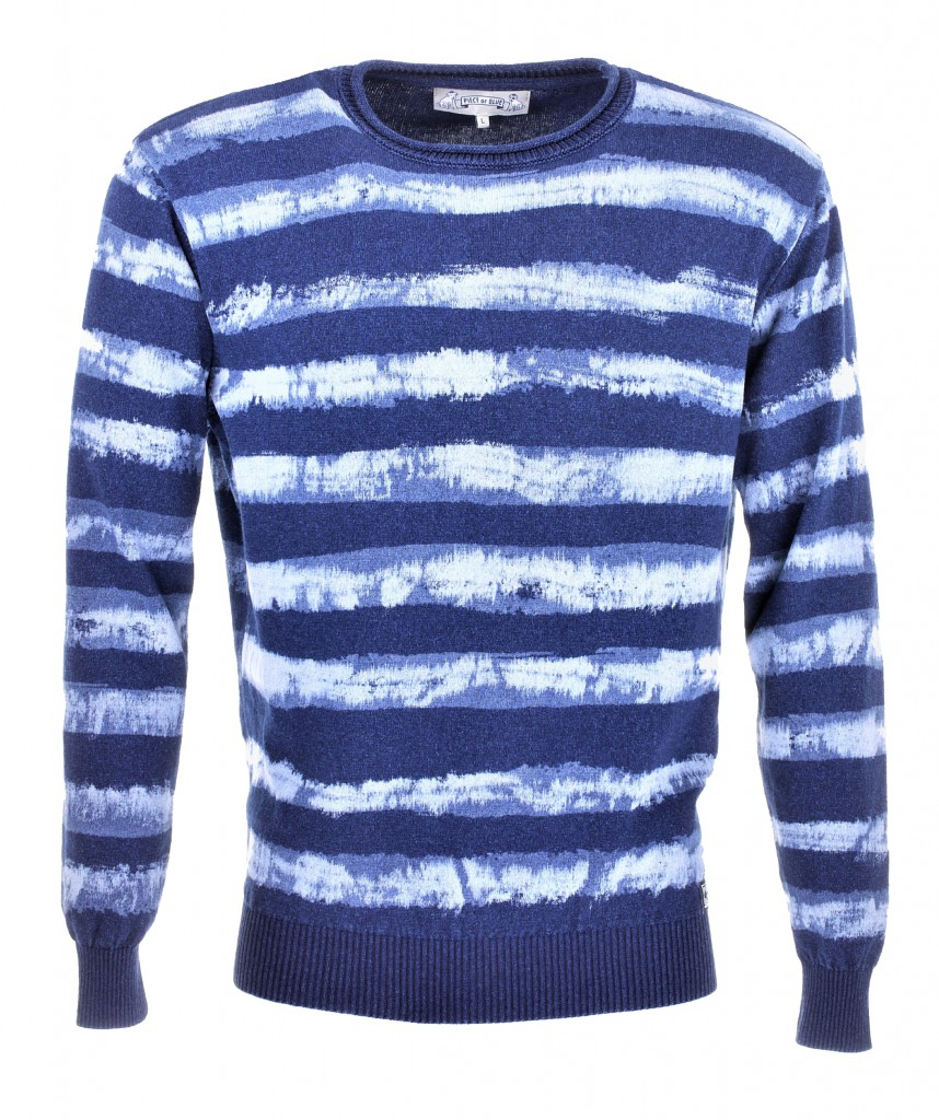 PIECE OF BLUE Herren Pullover gestreift