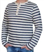 Saint James Hr. Langarm Strickpulli ecru marine