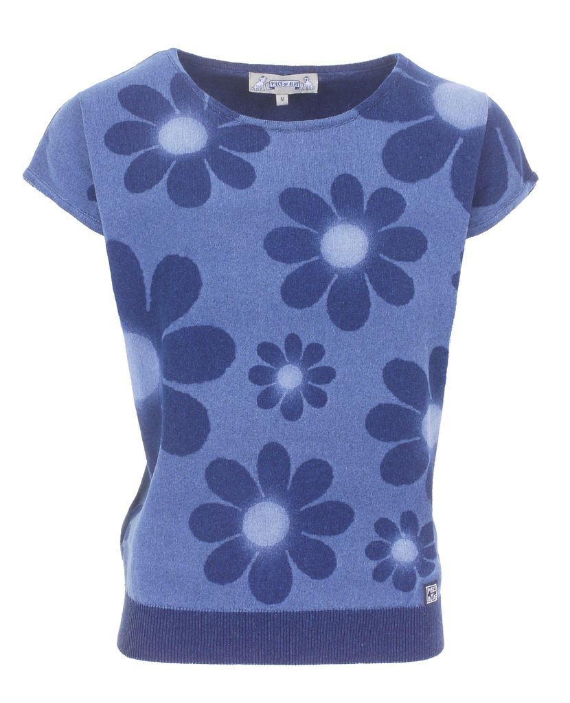 Piece of Blue Damen Strickpulli indigo Blumen Druck