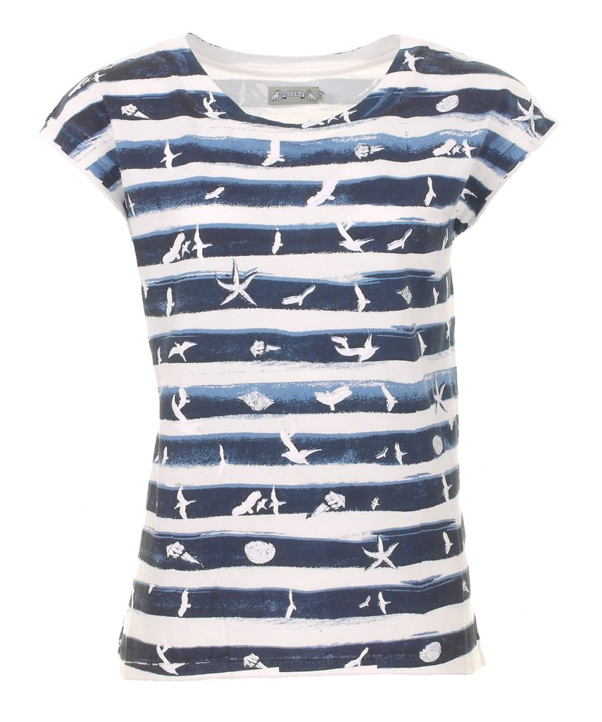 Piece of blue Damen Shirt Sommerdruck Streifen Happy T-Shirt