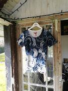 Piece of blue Damen Shirt Sommerdruck Happy T-Shirt