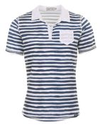 Piece of blue Damen Polo Shirt Sommerdruck Streifen Happy T-Shirt -1