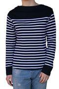 Mousqueton Da. Shirt lang navy ecru Streifen