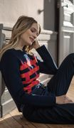 Saint James Da. Pullover Wolle Navy Pink
