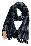 Schal - floral dunkelblau 100% Modal