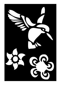 Tattoo Stencil | Self-Adhesive | Humming Brid & Flower