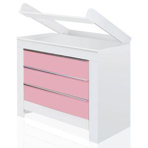 Babyzimmer Felix mit 2-türigem Kleiderschrank in weiss mit rosanen Schranktürfronten – Bild 4