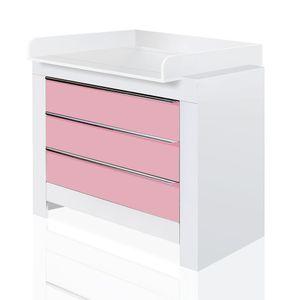Babyzimmer Felix mit 2-türigem Kleiderschrank in weiss mit rosanen Schranktürfronten – Bild 3