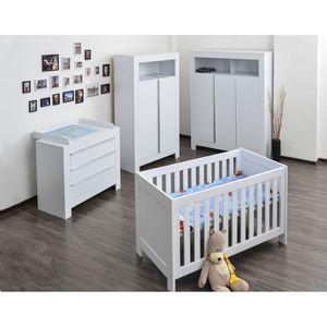Babyzimmer / Kinderzimmer komplett Felix in Weiß, Komplettset mit grossem Kleiderschrank, Babybett mit Lattenrost, Wickelkommode mit Wickelaufsatz – Bild 1