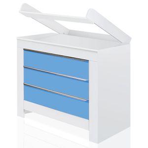 Babyzimmer Felix mit 3-türigem Kleiderschrank in weiss mit blauen Schranktürfronten – Bild 3