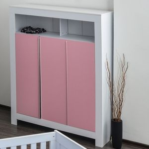 Babyzimmer Felix mit 3-türigem Kleiderschrank in weiss mit rosanen Schranktürfronten – Bild 2