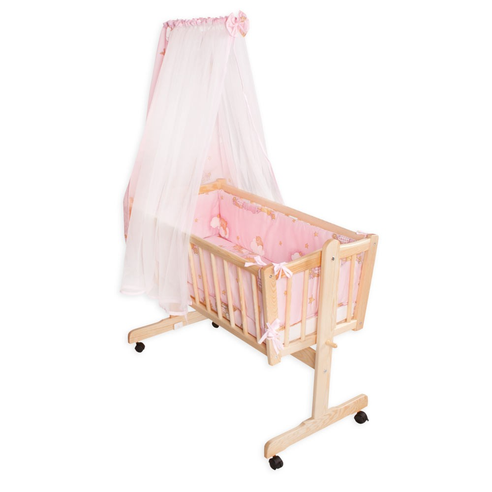 wiege natura kiefer mit 8 teiligem bettset leiterb r in rosa und himmelstange baby kinderwelt. Black Bedroom Furniture Sets. Home Design Ideas