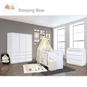 Babyzimmer Atlanta in Weiss 10 tlg. mit 3 türigem Kl. + Sleeping Bear Beige – Bild 1