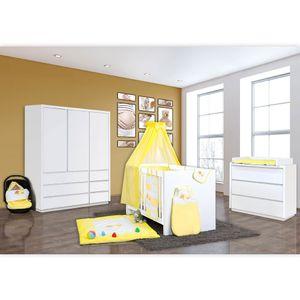 Babyzimmer Atlanta in Weiss 10 tlg. Mit 3 türigem Kl. + Sleeping Bear Gelb – Bild 2