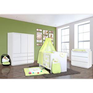 Babyzimmer Atlanta in Weiss 10 tlg. Mit 3 türigem Kl. + Sleeping Bear Grün – Bild 2
