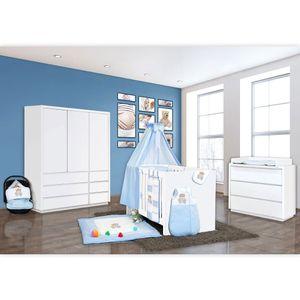 Babyzimmer Atlanta in Weiss 10 tlg. mit 3 türigem Kl. + Memi Bear Blau – Bild 2