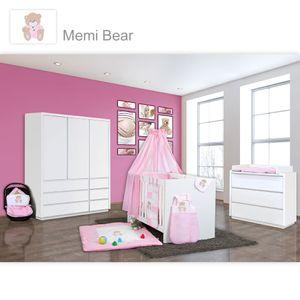 Babyzimmer Atlanta in Weiss 10 tlg. mit 3 türigem Kl. + Memi Bear Rosa – Bild 1