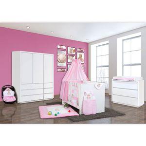 Babyzimmer Atlanta in Weiss 10 tlg. mit 3 türigem Kl. + Memi Bear Rosa – Bild 2