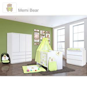 Babyzimmer Atlanta in Weiss 10 tlg. Mit 3 türigem Kl. + Memi Bear Grün – Bild 1